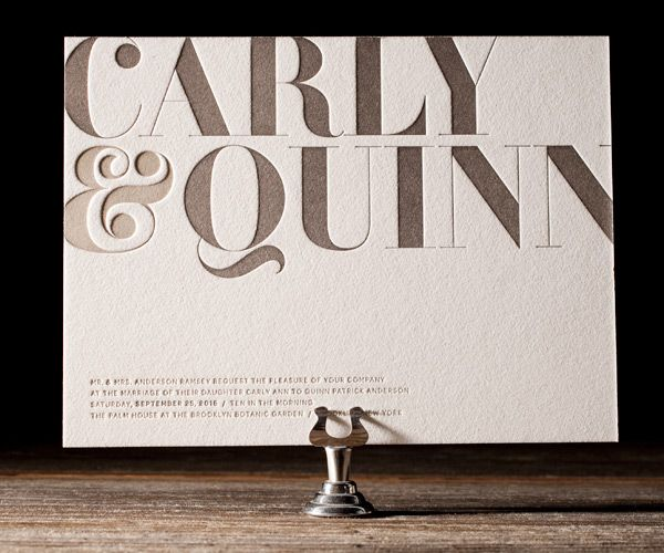 With it's flattering type, classic proportions, and clean lines, this courageous letterpress invitation will get you through even the most insurmountable of wedding planning obstacles.