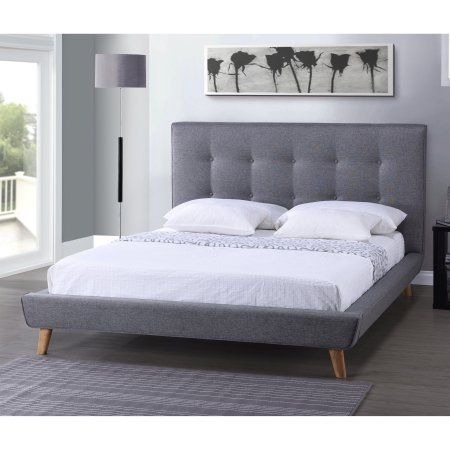 Baxton Studio Jonesy Scandinavian Style Mid-Century Fabric Upholstered Platform Bed