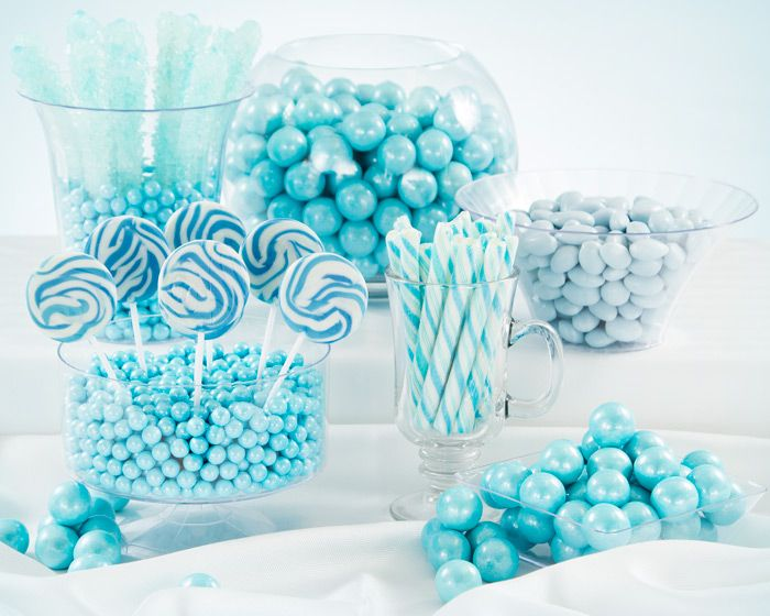 light blue candy buffet mints chocolates lollipops more candy in light blue