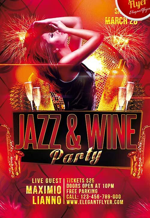 Free Jazz & Wine Party Club Flyer PSD Template - http://freepsdflyer.com/free-jazz-wine-party-club-flyer-psd-template/ Enjoy downloading the Free Jazz & Wine Party Club Flyer PSD Template! The PSD is set up in 1275×1875 dimension (4″ х 6″ with 0,25″ bleed). You can easily change texts, content, images, objects and color palette. The PSD file is very well organized, with color coded groups and layers named appropriately.   #Classy, #Club, #Dj, #Event, #Indie, #Jazz