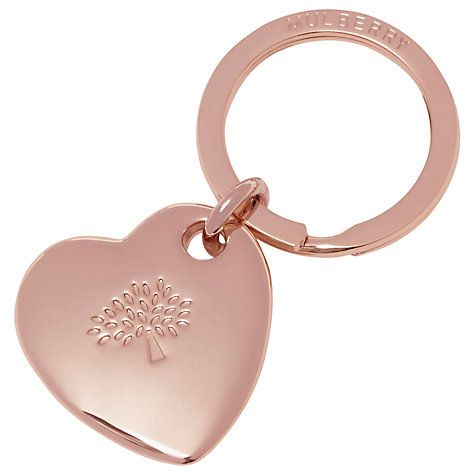 Carry your home style statement with you with this gleaming, heart-shaped Mulberry keyring in Rose Gold. £70 from John Lewis