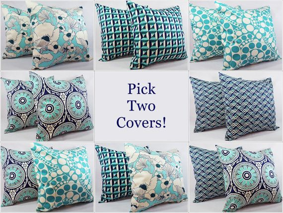 Navy and Teal Pillow Covers  18 x 18  Pillow by CastawayCoveDecor, $30.00