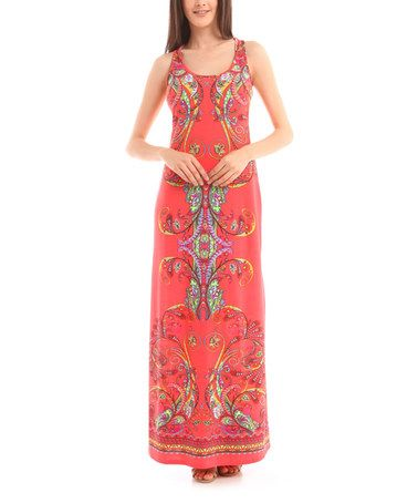 Another great find on #zulily! Coral Scarf Print Maxi Dress by BOLD & BEAUTIFUL #zulilyfinds