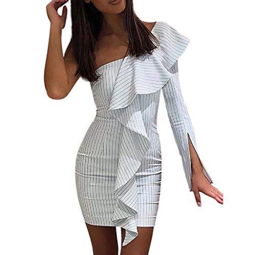 Zegeey Damen Minikleid Kleid Bodycon Schulterfrei ...