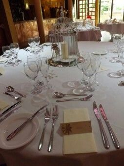 Our tables with handmade place cards