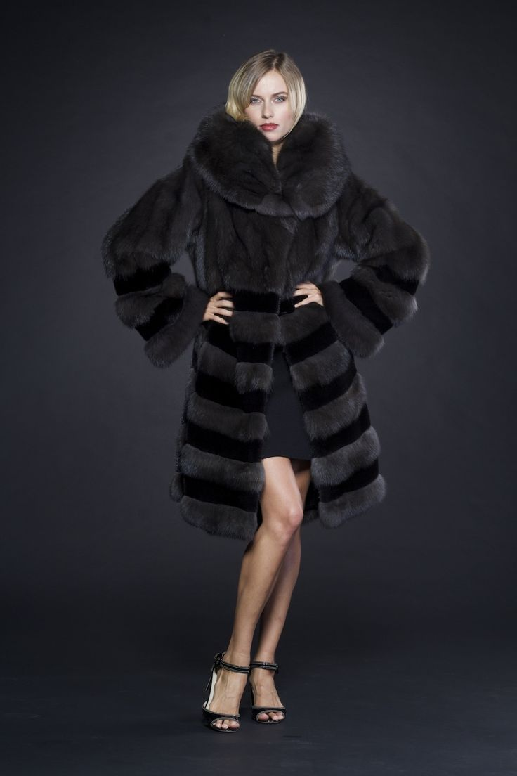 Russian Barguzin Sable and Black Dyed Sheared Mink Fur Coat