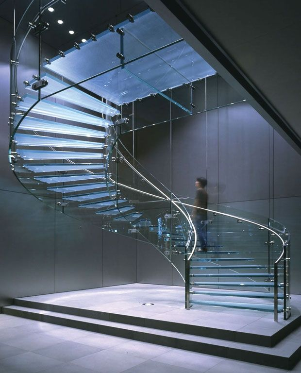 curved glass spiral staircase design