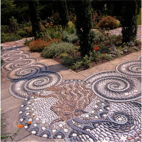 Maggy Howarth's pebble mosaics in the garden at Gresgarth Hall. They illustrate signs of the zodiac belonging to the Lennox-Boyd family. www.maggyhowarth.co.uk. Photo:  www.countrylifeimages.co.uk