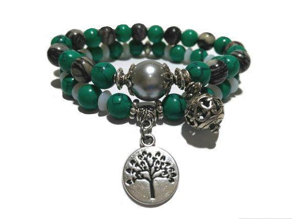 Tree of Life Bracelet Gemstone Bracelet Healing by LotusandStone
