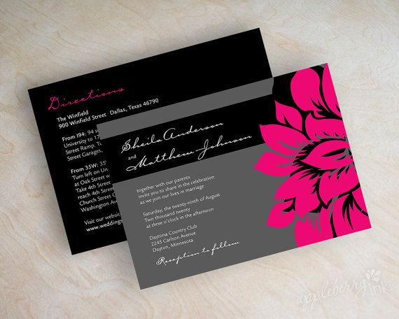 Wedding invitations, modern invitation, contemporary wedding stationery, hot pink, fuchsia, black, charcoal gray, free shipping, Athena