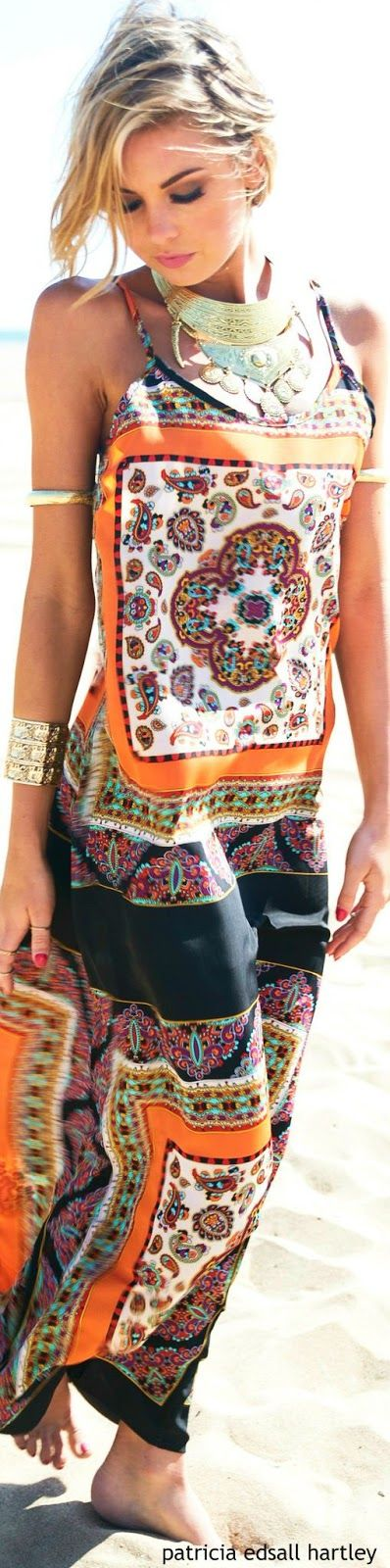 Latest fashion trends: Women's fashion | Boho printed maxi dress with statement necklace and golden bracelets