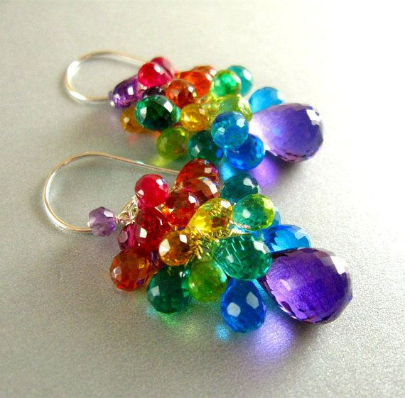 Colorful Amethyst, Quartz and Topaz Sterling Cluster Earrings - Over The Rainbow
