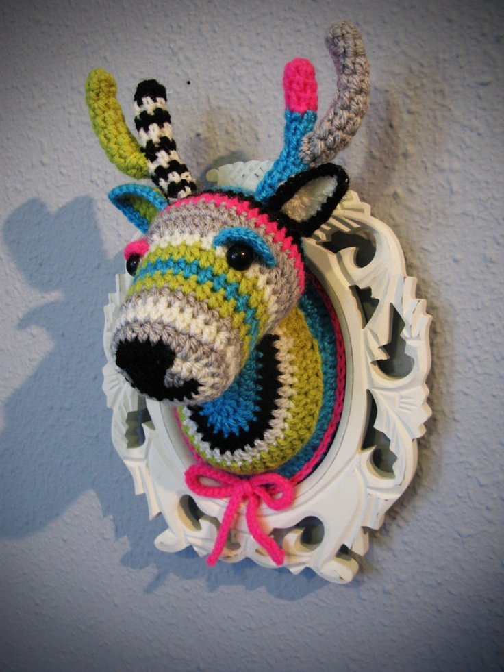 Crochet deer head in a wooden white frame. ₪450.00, via Etsy.