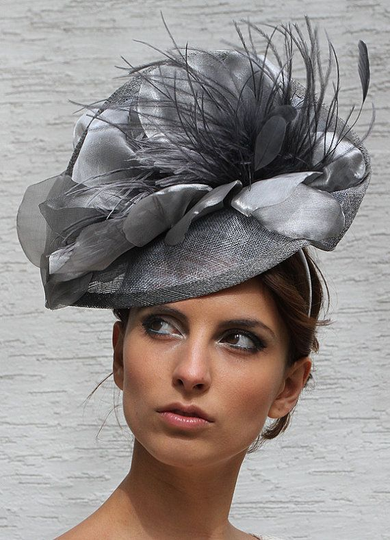 Silver grey Melbourne cup fascinator hat by IrinaSardarevaHats