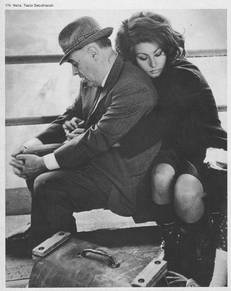 Sophia Loren and Carlo Ponti in between scenes of the movie Arabesque at the Kremlin. Photgraphy by Tazio Secciaroli.
