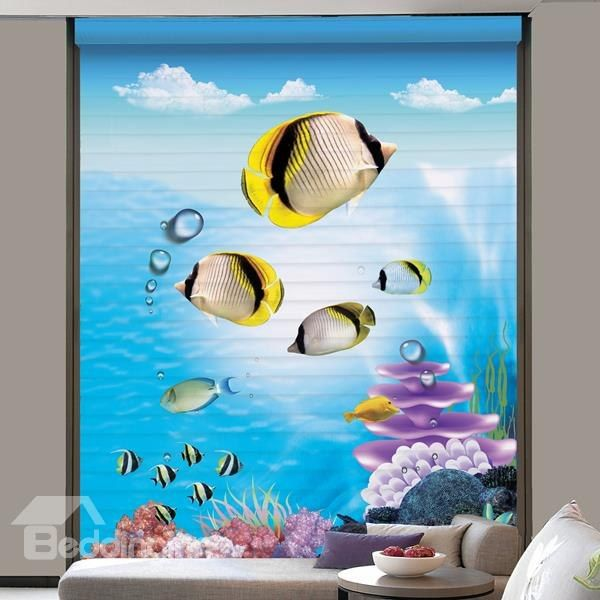 Cute Tropical Fish Printing Polyester #Blind & #Roller #Shades