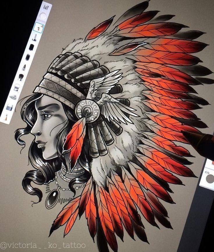 Цветной эскиз девушки-индианки
