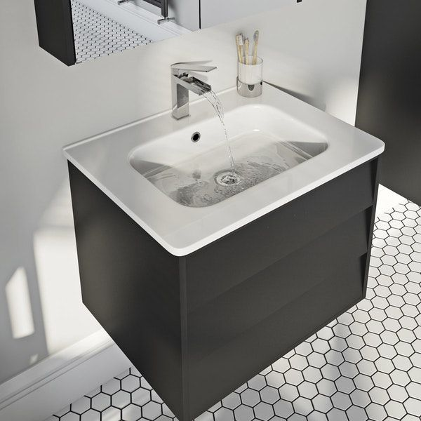Mode Cooper Anthracite Black Wall Hung, Mode Burton White Wall Hung Vanity Unit And Basin 600mm