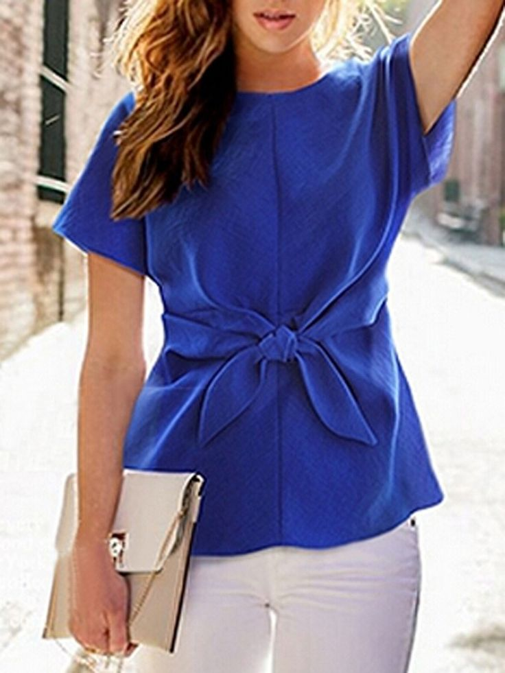 Blue,Short Sleeve,Tie Front,Blouse,Bow,Bowknot ==
