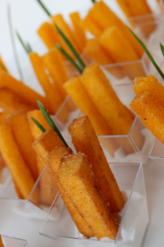Use orange as inspiration for your next party and serve orange foods like these Polenta Fries