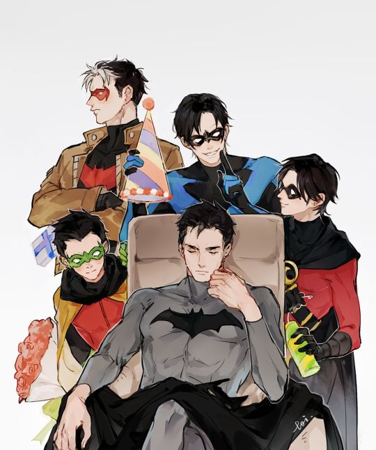 Happy Birthday Bruce. Batfamily. Batman, Red Hood, Nightwing, Red Robin, and Robin.