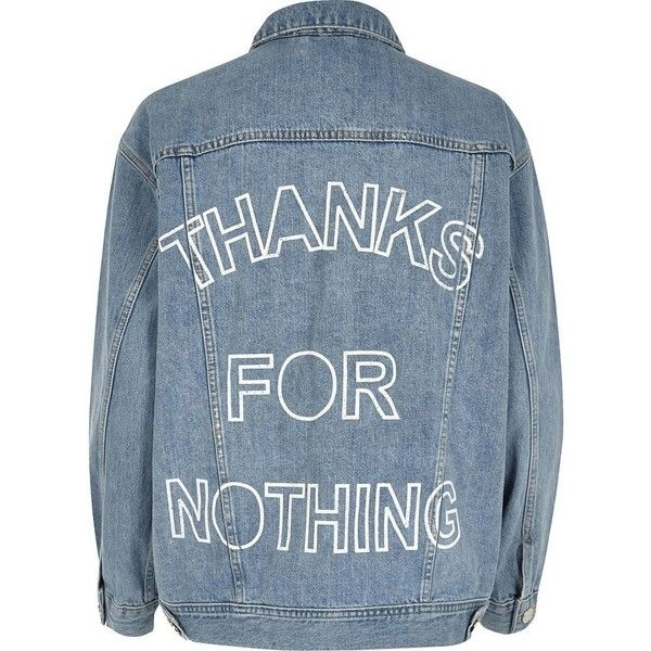 River Island Light blue slogan back print denim jacket (€105) ❤ liked on Polyvore featuring outerwear, jackets, blue, coats / jackets, women, blue jackets, blue denim jacket, tall denim jacket, flap jacket and jean jacket