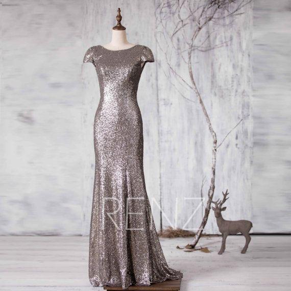 2016 Gray Bridesmaid dress, Cap Sleeve Wedding dress, Scoop neck Evening dress, V back Metallic Sequin Mother Of Bride MOB Gown (GQ161C)