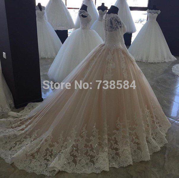 Индивидуальные длинный рукав Кружево аппликации бальное платье, Vestidos De Novia 2016 торжественные платья купить на AliExpress