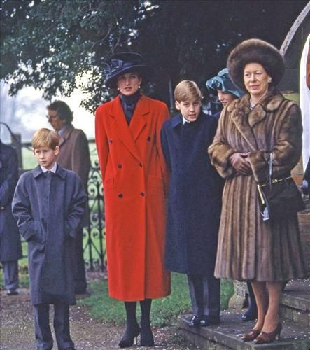 The Princess of Wales and her children, Princes Harry and William, pictured with cousin Zara Phillips and Princess Margaret.
