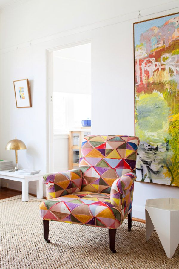 Armchair fabric by EDIT, painting by Guy Maestri. Sydney home of interior designer Juliette Arent
