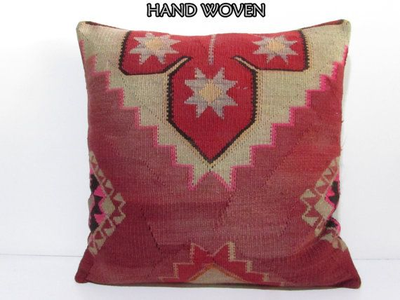 VIEW ALL KILIM PILLOWS http://www.etsy.com/shop/DECOLICKILIMPILLOWS  HAND WOVEN ORIENTAL TURKISH KILIM PILLOW COVER by DECOLIC TURKIYE.  1- Size: 24x24 Inches / 60x60 cm. 2- Material: Wool & Cotton 3- Front side: Unique Kilim Rug Fabric 4- Back side is cotton fabric with hidden zipper. 5- Shipping worldwide. ----------------------------------------------------------------------------------------------- You can also buy insert for this pillow cover by visiting: www...