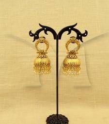 Buy Bell style drop reverse arc hold antique earrings jhumka online