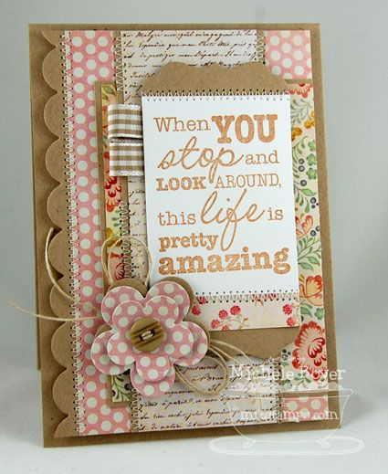 """When You Stop and Look Around…   Paper Cuts Stamps:  My Favorite Things """"Vertical Greetings II"""" and """"Finishing Flourishes""""  Ink: Amuse Studio Cocoa    Paper:  MFT Kraft, Whip Cream; My Mind's Eye The Sweetest Thing """"Lavender"""" (6×6)   Accessories:  MFT Vertical Greetings II, Simply Scallops Small and Pretty Posies Die-namics, buttons, hemp cord, ribbon scraps, X-Press It 1/4″ foam tape.  Finished size 4″ x 5 1/2″."""