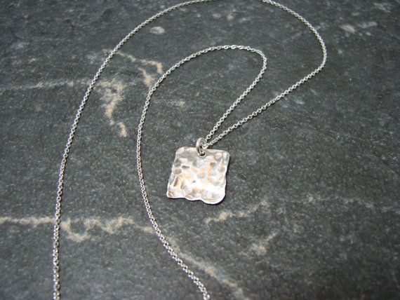 Silver Square Pendant by melmacdesigns on Etsy, $21.00