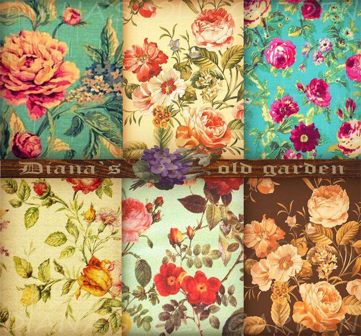 Paris Floral Scrapbook Paper. Vintage. Floral Backgrounds