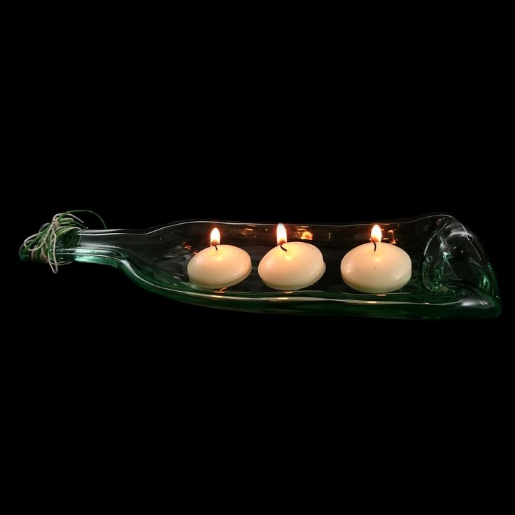 Beautiful glass wine bottle decorative piece.  Perfect for candles, potpourri, food - has so many uses!  Hand made item.