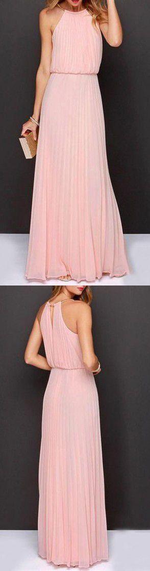 Blush Pleated Chiffon Maxi Dress #bridesmaid #wedding #dress