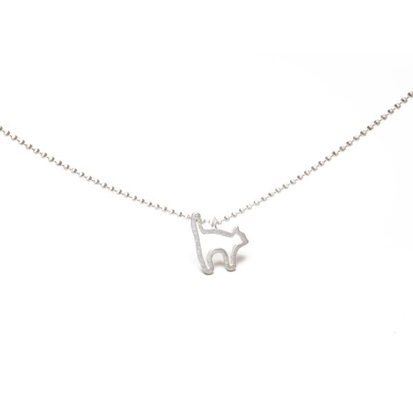 Terra Jewellery sterling silver cat pendant for design4paws http://www.design4paws.com/?product=cat-outline-pendant