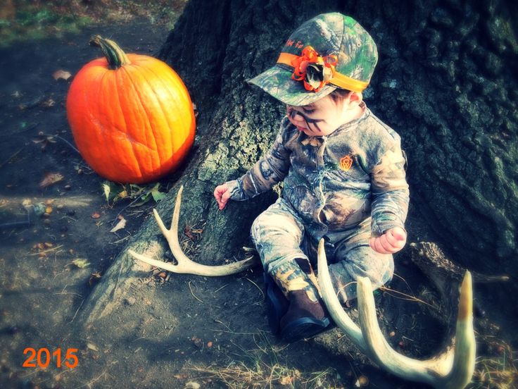 Hunting Baby Pictures, Realtree, Antler Sheds, Fall Photos, Bowhunter, Hunter Face paint, Orange and Camo Baby