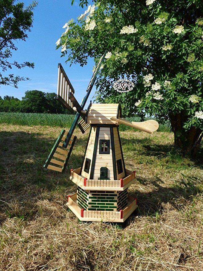 Handwerker Windmuhle Gartenwindmuhle 100 Cm Zweistockig Mit 2 Balkonen Gartendeko Windmuhlen Fur Teich Und Garten Windf Gartenwindmuhle Garten Deko Windrad