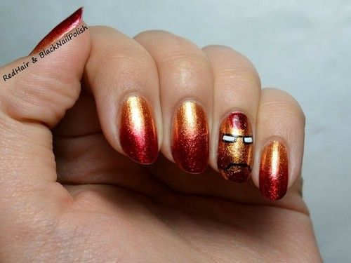Iron Man nail art.  If I had non working hands... everyday, everyday, he is my man.