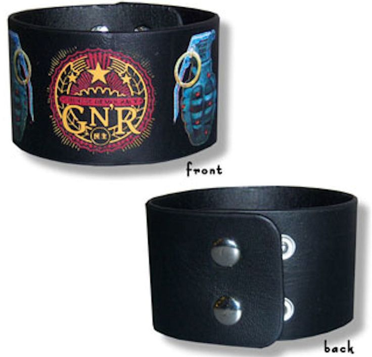GUNS N' ROSES Official Rock Merchandise Leather Studded Wristband GRENADE