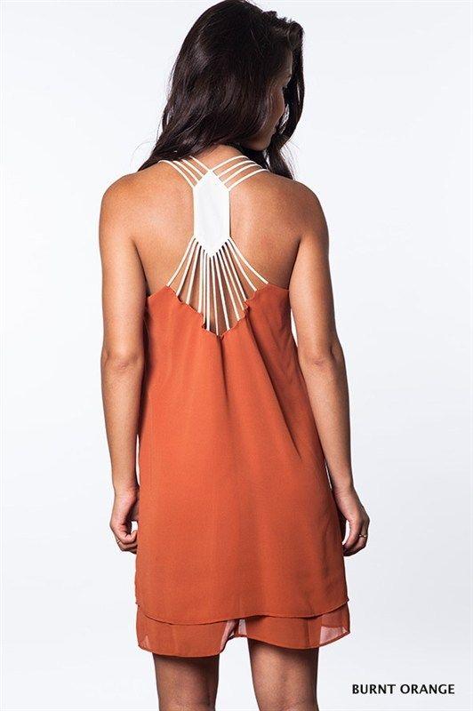 Longhorn Fashions - Burnt Orange White Dress , $30.00