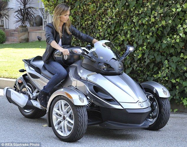 tomboy stacy keibler goes hell for leather on three wheeled motorbike sexy angeles and pink black. Black Bedroom Furniture Sets. Home Design Ideas