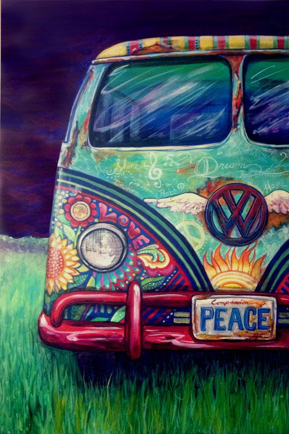 "Hippie Kombi  ""Peacemobile"" by Keriansart on Etsy"