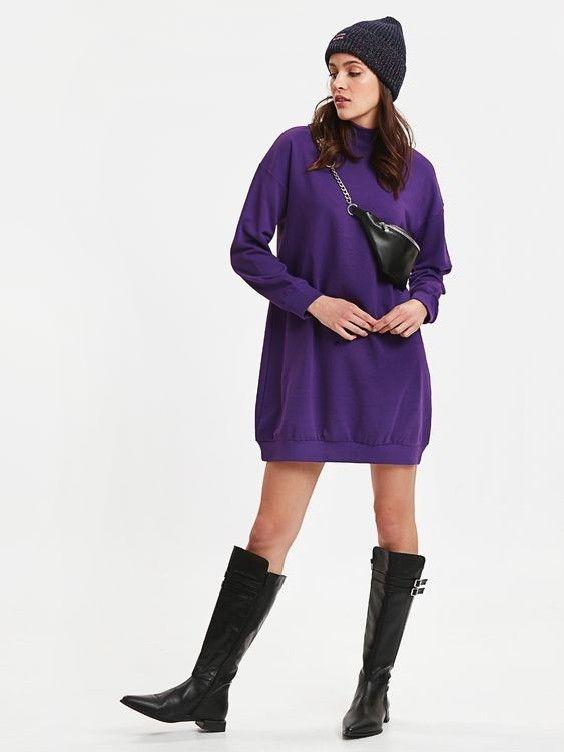 Lcw Bayan Elbise Modelleri Mor Kisa Uzun Kol Balikci Yaka Kazak Elbise Siyah Deri Uzun Cizme Kazak Elbise Moda Kiyafetler Siyah Deri