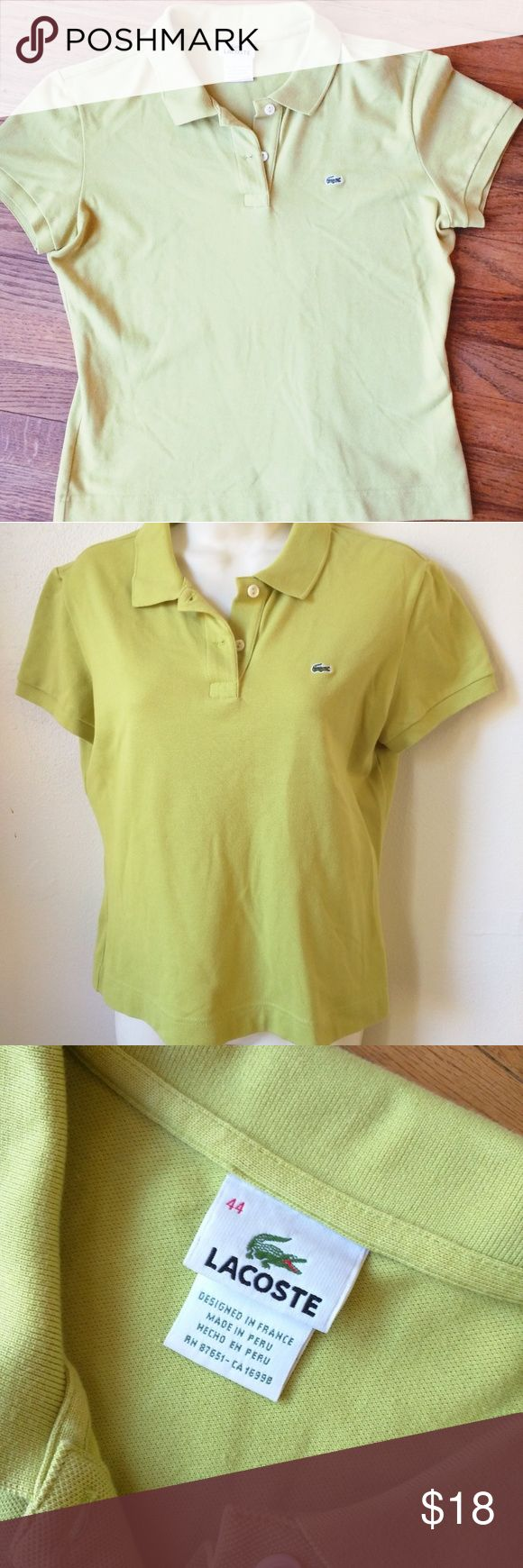 """Lacoste polo shirt women's 44 lime green bright Size 8 curvy fit, classic shirt, in good condition!  Chest 42"""" Back length 24""""  Peace!  I have two more, this size, different colors.  Bundle! Lacoste Tops Tees - Short Sleeve"""