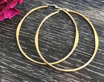 Stainless Steel Large Gold Ridged Flat and Rounded Hoop Earrings - Hypoallergenic Earrings - Sensitive Ears - 2.5 Hoop Earrings