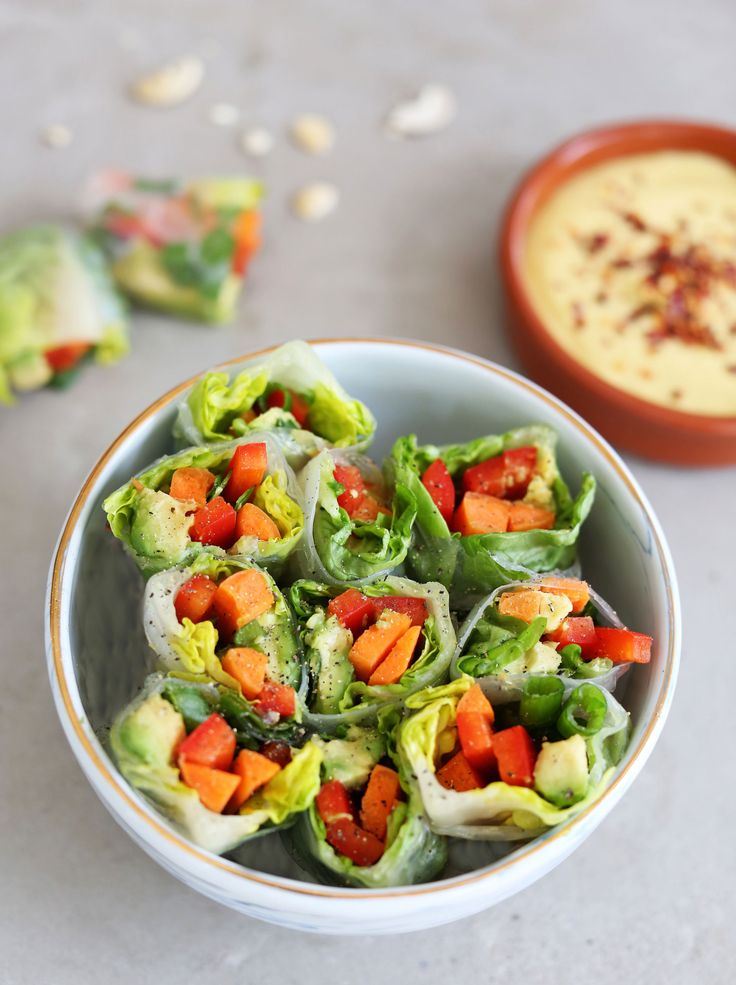 Summer Rolls with Spicy Creamy Mango Sauce -  the perfect pre-dinner snack or easy little canapé, as well as a great light lunch on a hot day.
