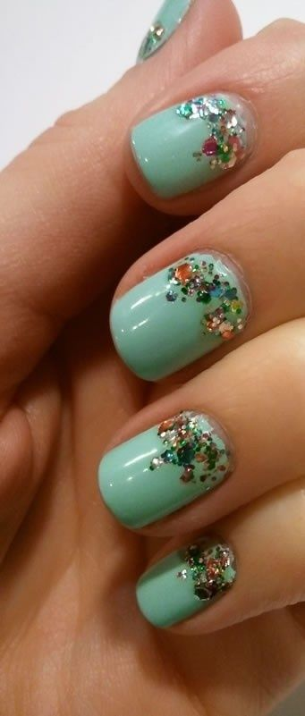 Mint Green, Nails Art, Cute Nails, Nailart, Sparkle Nails, Glitter Nails, Nails Ideas, Sparkly Nails, Nail Art